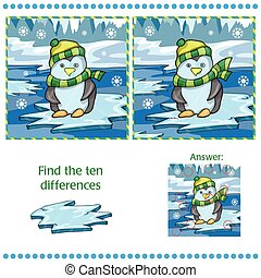 Find differences between the two images unny penguin on ice...