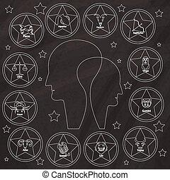zodiac on chalkboard - Zodiac sign drawn with chalk on...