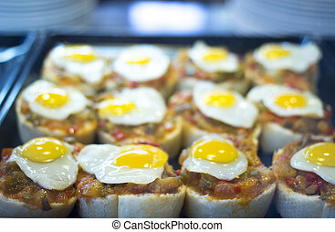 Spanish cusine egg tapas dishes in restaurant - Spanish...
