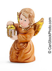 christmas angel - cute christmas angel with lantern isolated...