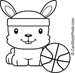 Cartoon Smiling Basketball Player Bunny