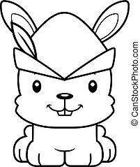 Cartoon Smiling Robin Hood Bunny