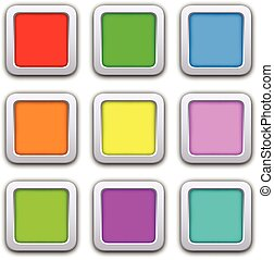 Square blank icons in flat style with shadows. Vector...