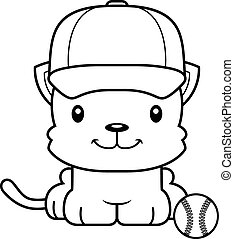 Cartoon Smiling Baseball Player Kitten