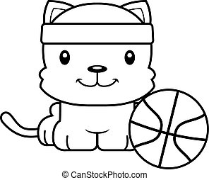 Cartoon Smiling Basketball Player Kitten