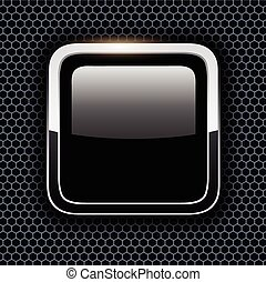 Empty icon with chrome metal frame, Rounded square black...
