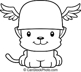 Cartoon Smiling Hermes Kitten - A cartoon Hermes kitten...