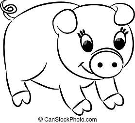 Cartoon pig. Vector illustration.
