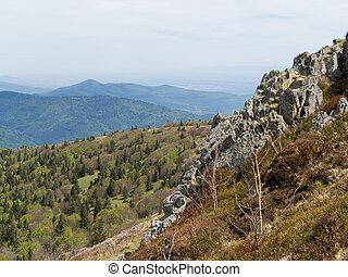borde, colinas, el pasar por alto, acantilado