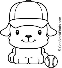 Cartoon Smiling Baseball Player Puppy