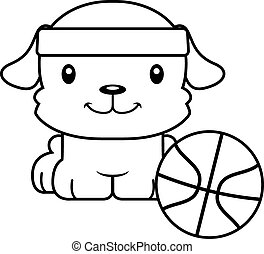 Cartoon Smiling Basketball Player Puppy