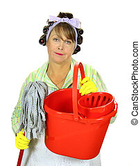 Mop And Bucket Housewife - Frumpy unhappy middle aged...