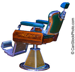 Vintage barber chair - View of vintage barber chair isolated...