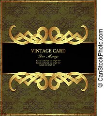 Damask green with gold vintage card. Vector illustration