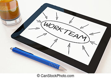 Workteam - text concept on a mobile tablet computer on a...
