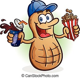 Peanut Cartoon Character with Soda - A roasted peanut...