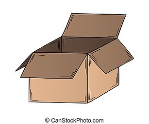open paper box on white background, isolated, sketch