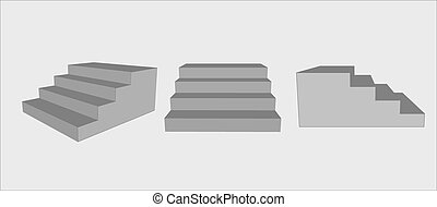 three group of stairs - three group of gray stairs, 3D,...