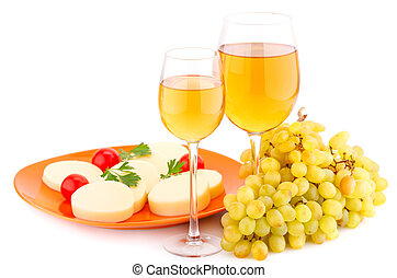Wine, grapes and cheese - Wine, grapes, cheese and tomatoes...