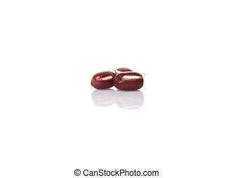 Red Adzuki Beans - Red adzuki beans over white background