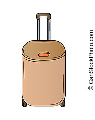 suitcase with wheels on white background, isolated