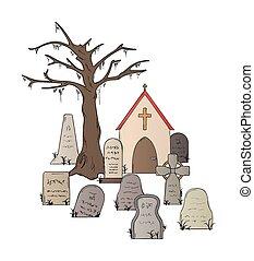 Cemetery Vector Clip Art Royalty -  6.8KB
