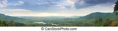 panorama mountains, forests and agricultural areas