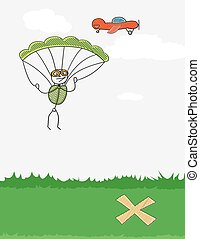 paratrooper and plane - paratrooper jumping from a red plane...
