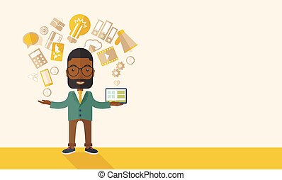 Happy Black man enjoying doing multitasking.