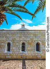 The church yard - Cosy small church yard on Lake Kinneret,...