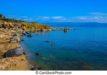 Sea of Galilee in Israel. On the lake, Jesus Christ showed...