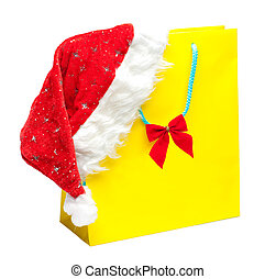 yellow packet with santa hat - yellow packet isolated on...