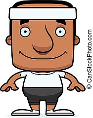 Cartoon Smiling Fitness Man - A cartoon fitness man smiling