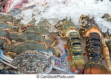Assorted lobster and crabs close up in fish market
