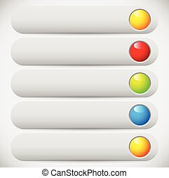 Colorful (long) button, banner backgrounds with circle. Empty space for your message / icons, symbols.