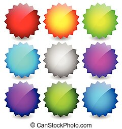Blank starburst shapes, price flashes. Set of 9 colors.
