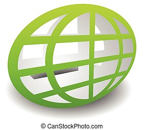 Oval shaped wire-frame globe. Editable vector illustration