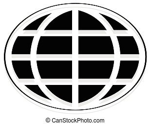 Oval shaped wire-frame globe. Editable vector illustration.