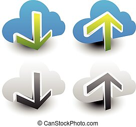 Clouds with arrows Upload, download icons Upload, download...