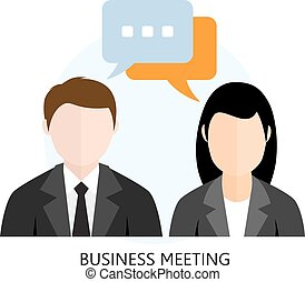 Business Meeting Icon Flat design Concept Isolated on White...