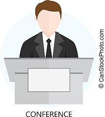 Conference Icon Flat Design Concept Isolated on White...
