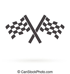 crossed race finish flags icon - crossed autosport finish...
