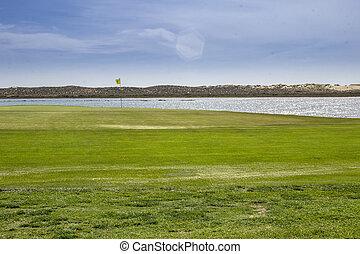 Algarve golf course seascape scenery, at Ria Formosa...