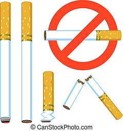 Cigarette set - A set of Vector cigarettes: Hot, new, butt,...