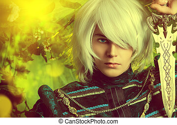 elf prince - Beautiful blond elf with a dagger in his hand...