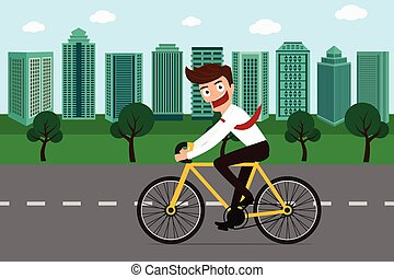 Businessman riding a bicycle in green city