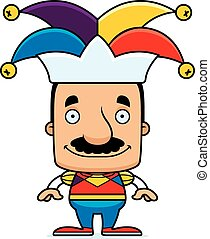 Cartoon Smiling Jester Man - A cartoon jester man smiling