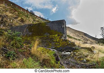 Nant-y-Gro Dam, blown up during war for testing of...