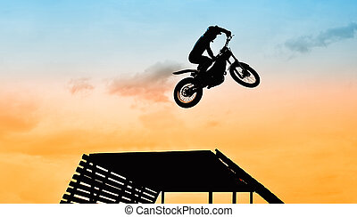 jump with motorbike - acrobatic jump with motorbike