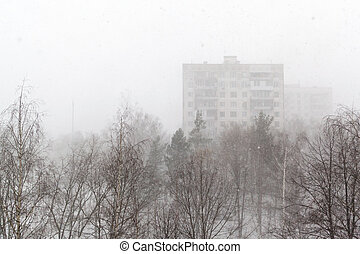 View on winter city and snow storm
